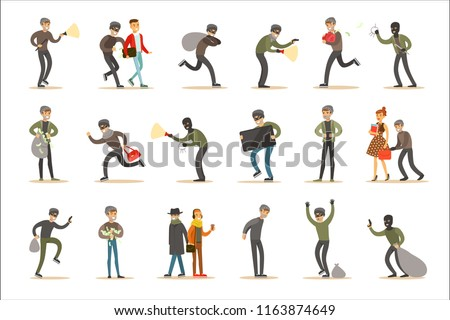 Burglars, Muggers And Thieves Set Of  Criminals At The Crime Scene Stealing Vector Illustrations