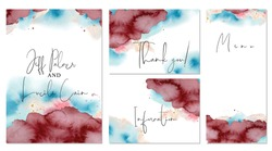 Burgundy and blue wedding set with  hand drawn watercolor background. Includes Invintation, information, menu and thank you cards templates. Vector set