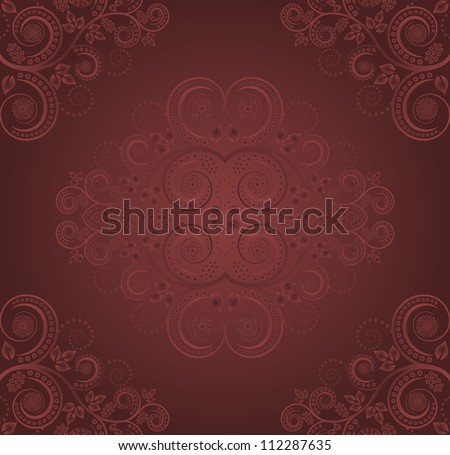 burgundy background with plant decoration - seamless
