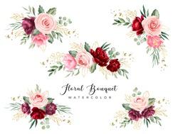 Burgundy green watercolor flower bouquet