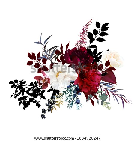 Burgundy red and white flowers glamour vector design bouquet. Ivory rose, peony, cymbidium orchid, ranunculus, berry, black leaf, anthurium. Floral dark luxury style Elements are isolated and editable Foto stock ©
