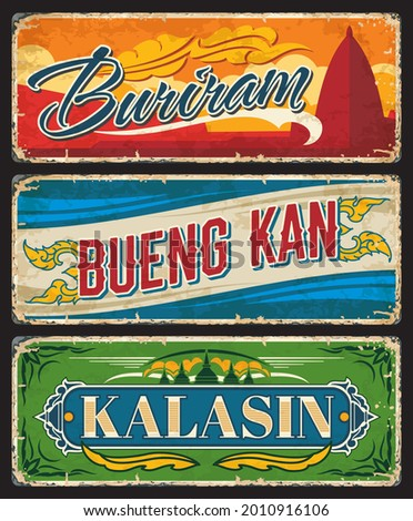 Buriram, Bueng Kan and Kalasin Thailand province vector plates and tin signs. Thai travel vintage plates, stickers and banners with mountain temple pagoda, stupas and provincial seals ornament Stockfoto ©