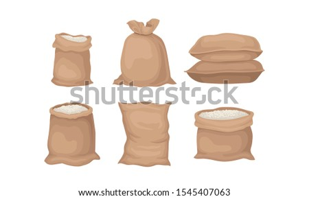 Burlap Sacks With Rice or Flour Vector Set Stock photo ©
