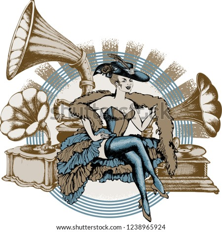 burlesque dancer and gramophone