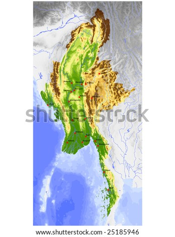 physical map of burma. Physical vector map, colored