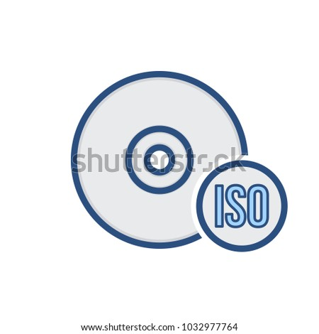 Burn disk drive image iso storage icon. Vector illustration