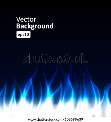 Burn flame blue fire vector background