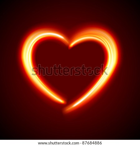 Burn heart shape flame fire vector background eps 10 - stock vector