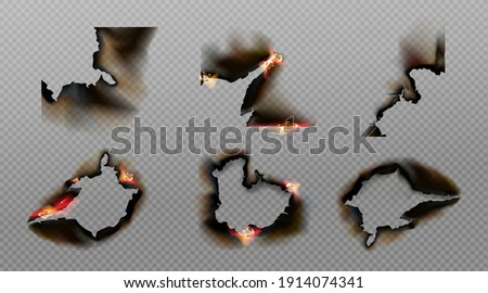 Burn paper corners, holes and borders, burnt page with smoldering fire on charred uneven edges, parchment sheets in flame. Burned frames isolated on transparent background. Realistic 3d vector set stock photo