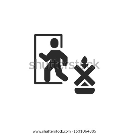 Burn within sight. man goes to the door filled icon. Labeled for fire safety. Labeling for wax candles. Sings for desing, for a website, for label printing.