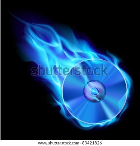 Burning blue CD. Illustration on black background for design