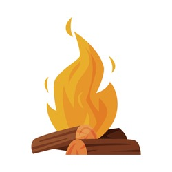 Burning Bonfire with Wood, Campfire, Outdoor Nature Picnic Cartoon Vector Illustration