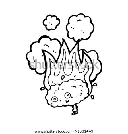 burning brain cartoon