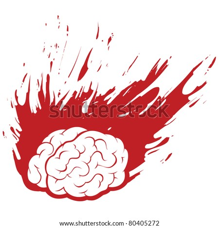 Burning Brain Headache with Grunge Fire or Paint, Vector Silhouette Illustration