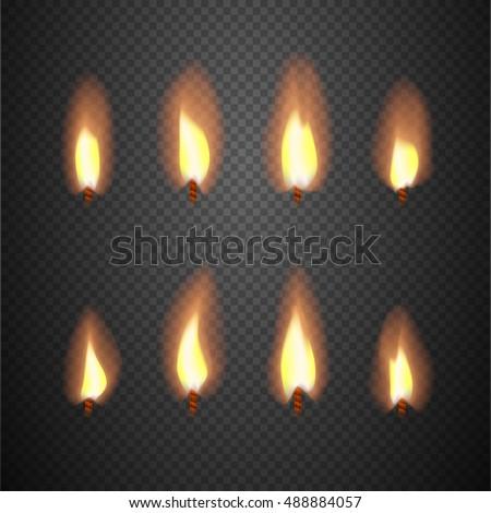 burning candle flame animation