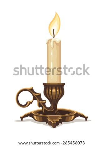 burning candle in bronze