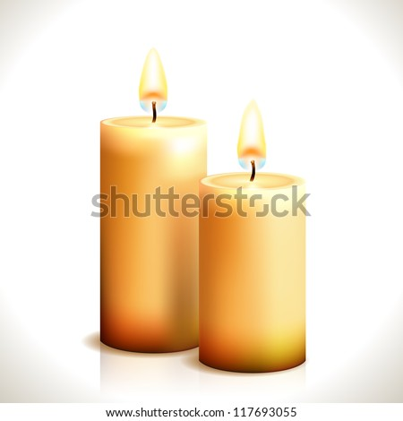 Burning Candles isolated on white. Vector Illustration