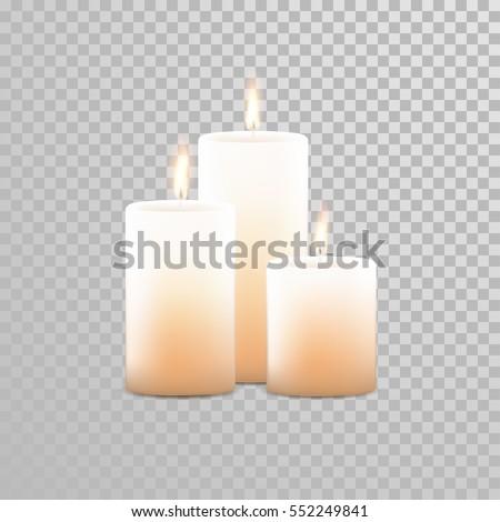 burning candles set aromatic