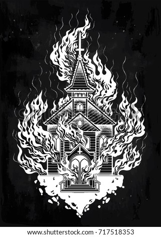 burning church flash tattoo...