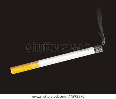 Burning cigarette and smoke on the black background. Vector