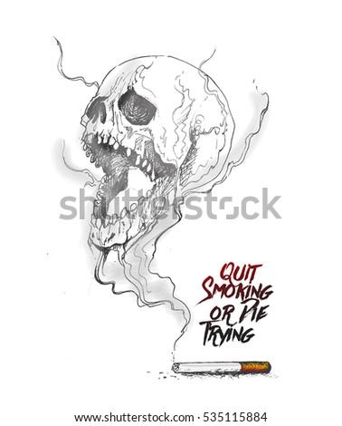 burning cigarette as a skull