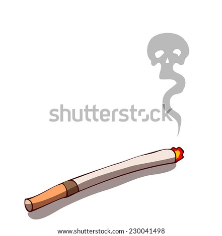 burning cigarette as a skull