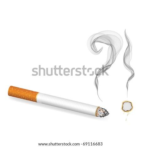 burning cigarette banner, vector