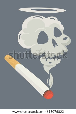 burning cigarette with a smoke