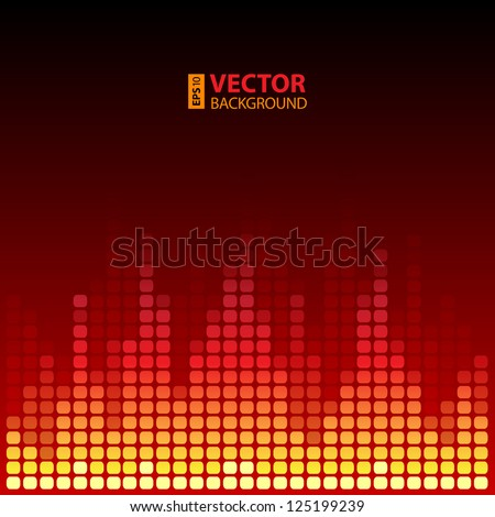 Burning digital equalizer background. RGB EPS 10 vector illustration
