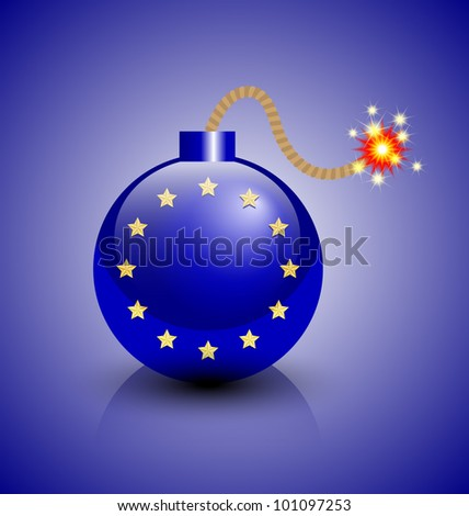 Burning European crisis bomb icon isolated on blue background