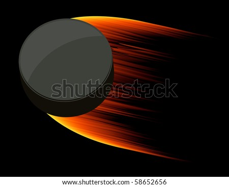 Burning flying puck, vector illustration