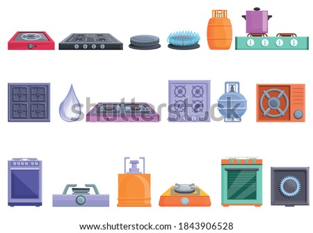 Burning gas stove icons set. Cartoon set of burning gas stove vector icons for web design
