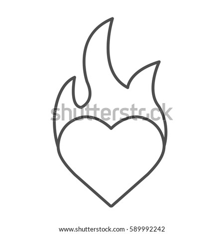 burning heart linear icon
