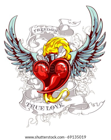 Burning heart with wings, ribbon and flourish pattern. Grunge style. Layered. Vector EPS 10 illustration.