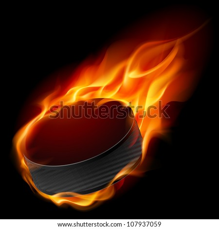 Burning hockey puck. Illustration for design on black background