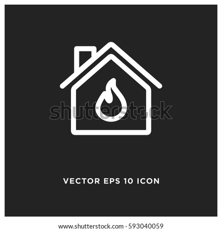 burning home vector icon  fire