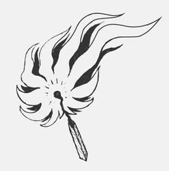 Burning match in style doodle illustration