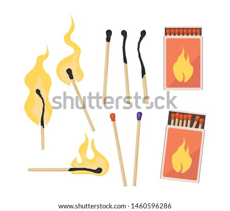 Burning match with fire, opened matchbox, burnt matchstick. Set of matches. Flat design style. Vector illustration isolated on white background.