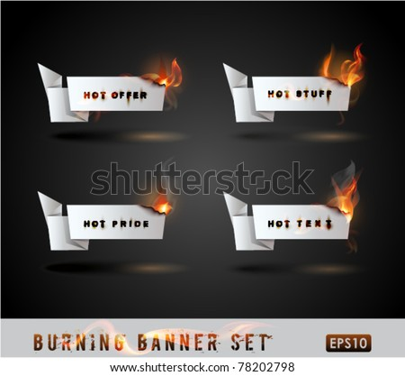Burning paper Origami banner Set. Vector Illustration.