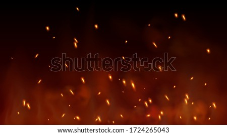 Burning red hot sparks fly from large fire in the night sky. Vector flame with particles. Lag Baomer bonfire holiday symbol. Сток-фото ©