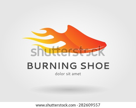 burning running shoe logo for