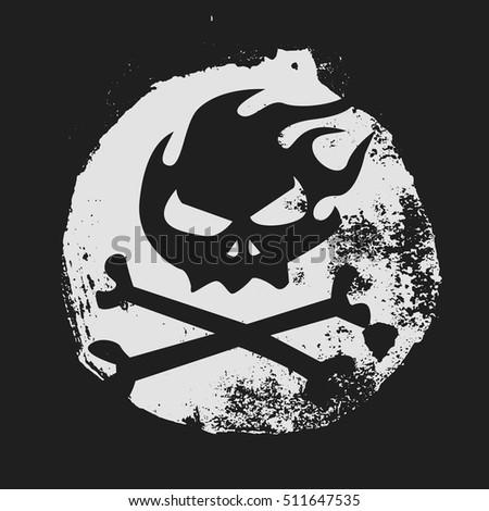 burning skull grunge style