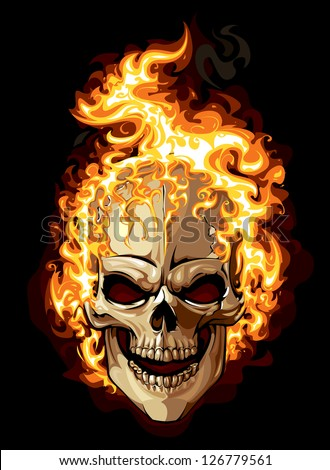 burning skull on black
