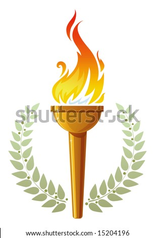 Burning Torch In Olive Leaves Stock Vector 15204196 : Shutterstock