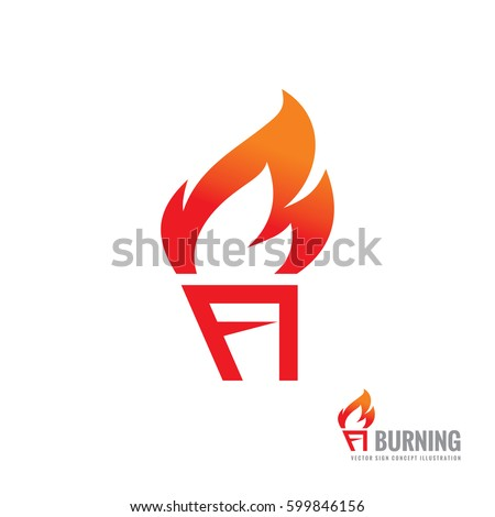 Burning torch - vector logo template concept illustration. Fire flame creative sign. Design element.