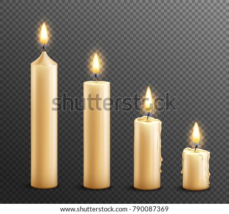 Burning wax candles realistic set of 4 arranged from tall to law on dark transparent background vector illustration