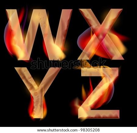 Burning WXYZ letters over dark,vector alphabet illustration