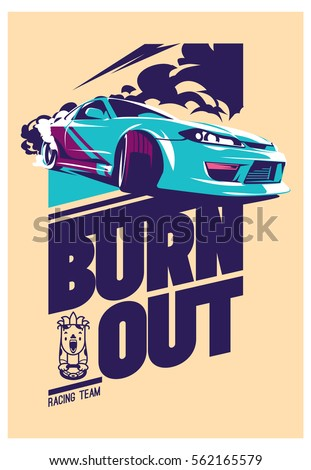 Burnout car, Japanese drift sport car, Street racing, racing team, turbocharger, tuning. Vector illustration for sticker, poster or badge