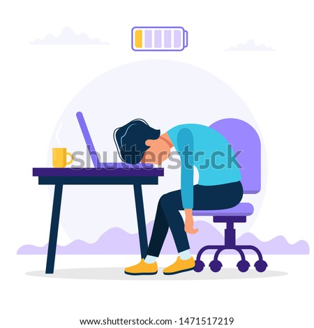 Burnout concept illustration with exhausted male office worker sitting at the table with low battery. Frustrated worker, mental health problems. Vector illustration in flat style
