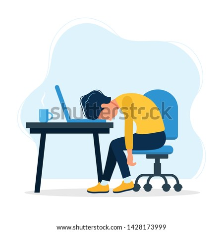 Burnout concept illustration with exhausted man office worker sitting at the table. Frustrated worker, mental health problems. Vector illustration in flat style
